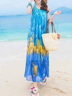 Blue Colorful Shift Maxi Slip Dress for Casual Beach