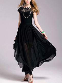 Black Shift Maxi Plus Size Lace Dress for Casual Evening