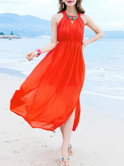 Red Halter Midi Dress for Casual Beach