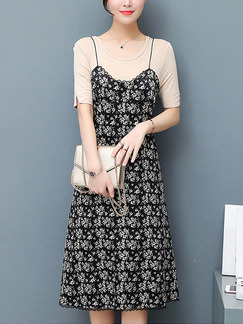 Black and Beige Shift Knee Length Plus Size Slip Dress for Casual Office Evening