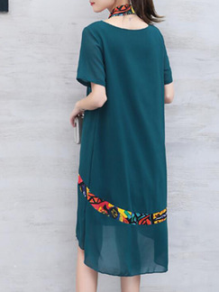 Green Shift Knee Length Plus Size Dress for Casual Office Party Evening