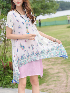 White and Pink Shift Above Knee Plus Size Dress for Casual Beach