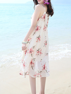 White Colorful Shift Knee Length Plus Size Slip Dress for Casual Beach