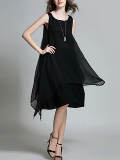 Black Shift Knee Length Plus Size Dress for Casual Party Evening
