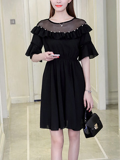 Black Fit & Flare Above Knee Dress for Casual Office Evening