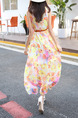 Yellow Colorful Shift Maxi Plus Size Dress for Casual Beach