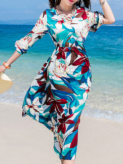 Blue Colorful Midi Floral Dress for Casual Beach