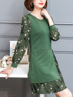 Green Sheath Above Knee Plus Size Long Sleeve Dress for Casual Office Evening
