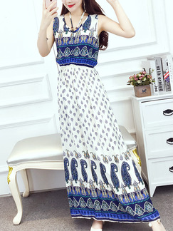 White and Blue Colorful Maxi Plus Size Dress for Casual Beach