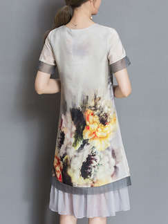Grey Colorful Shift Knee Length Plus Size Floral Dress for Casual Office Party Evening