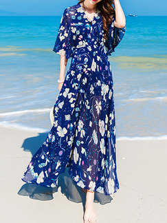Blue Colorful V Neck Maxi Dress for Casual Beach