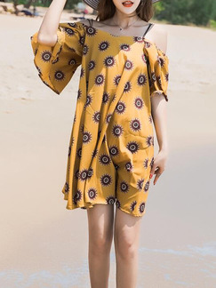 Yellow Shift Above Knee Slip Dress for Casual Beach