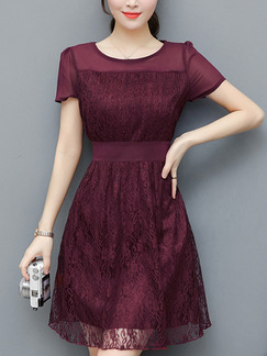 Red Fit & Flare Above Knee Plus Size Lace Dress for Casual Office Evening Party