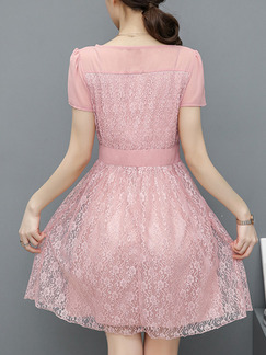 Pink Fit & Flare Above Knee Plus Size Lace Cute Dress for Casual Office Evening Party