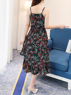 Black Red Shift Midi Plus Size Slip Dress for Casual Party