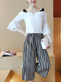 Black and White Stripe Two Piece Shirt Pants Plus Size Wide Leg Jumpsuit for Casual Office Evening