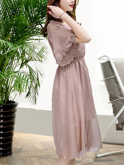 Pink Fit & Flare Knee Length Plus Size Dress for Casual Office Evening Party