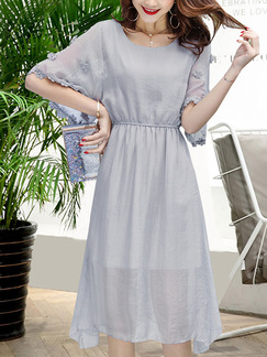 Grey Fit & Flare Knee Length Plus Size Dress for Casual Office Evening Party