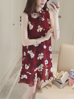 Red and White Shift Above Knee Plus Size Floral Dress for Casual Party Evening