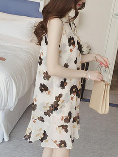 Beige and Black Shift Above Knee Plus Size Floral Dress for Casual Party Evening