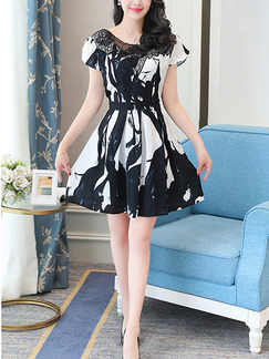 Black and White Fit & Flare Above Knee Plus Size Lace Dress for Casual Evening Party Nightclub