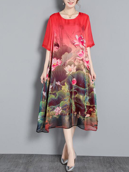 Red Colorful Shift Midi Plus Size Floral Dress for Casual Party