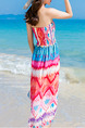 Colorful Fit & Flare Knee Length Plus Size Halter Slip Dress for Casual Beach