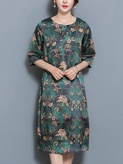 Green Colorful Shift Knee Length Plus Size Floral Dress for Casual Party