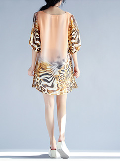 Leopard Shift Above Knee Plus Size Dress for Casual Party