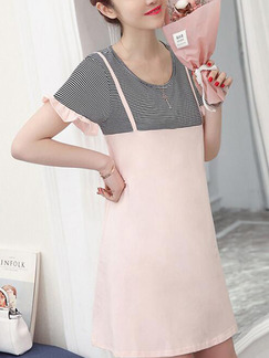 Pink and Grey Shift Above Knee Plus Size Cute Dress for Casual Party
