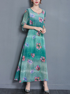 Green Maxi Floral Plus Size Dress for Casual Beach