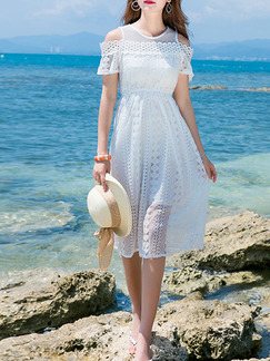 White Fit & Flare Midi Lace Dress for Casual Beach
