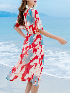 Red and Blue Midi V Neck Wrap Dress for Casual Beach