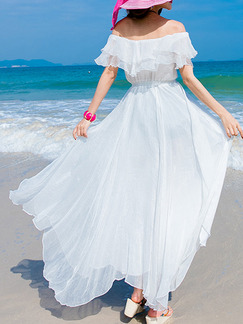 White Maxi Off Shoulder Dress for Casual Beach