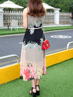 Colorful Maxi Floral Plus Size Dress for Casual Beach