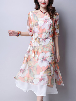 Orange Colorful Shift Midi Plus Size Floral Dress for Casual Beach