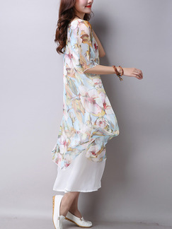 Blue Colorful Shift Midi Plus Size Floral Dress for Casual Beach