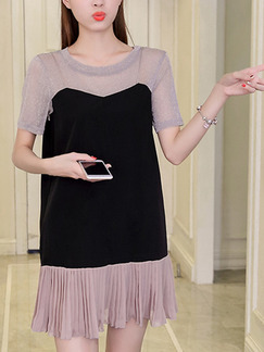 Black and Grey Shift Above Knee Plus Size Cute Dress for Casual Party