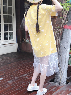 Yellow and White Shift Knee Length Dress for Casual