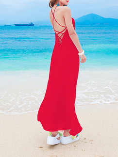 Red Maxi Slip Dress for Casual Beach