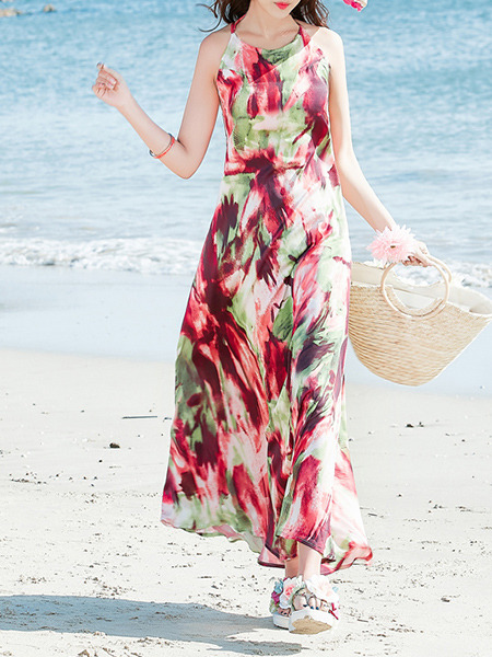 Colorful Maxi Plus Size Halter Dress for Casual Beach