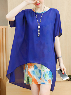 Blue Colorful Shift Above Knee Plus Size Dress for Casual Office Evening Party