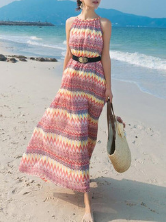 Pink Colorful Maxi Slip Halter Dress for Casual Beach