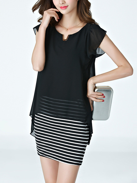 Black and White Stripe Sheath Above Knee Plus Size Dress for Casual Office Evening