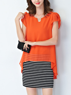 Orange Black and White Stripe Sheath Above Knee Plus Size Dress for Casual Office Evening