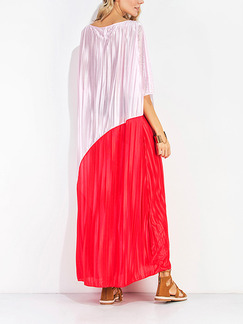 Pink and Red Maxi Shift V Neck Dress for Casual Beach