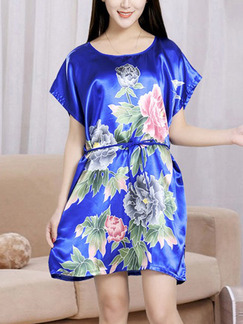 Blue Colorful Shift Above Knee Floral Dress for Casual Party Evening