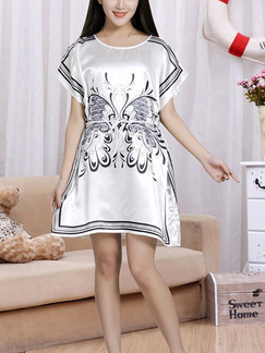 White Shift Above Knee Dress for Casual Party Evening