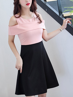 Pink and Black Fit & Flare Above Knee Plus Size Dress for Casual Office Party Evening
