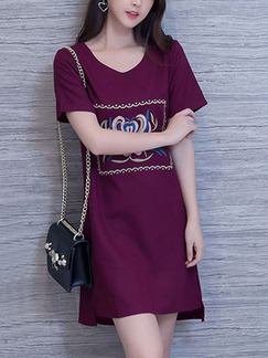 Red Shift Above Knee Plus Size Dress for Casual Party